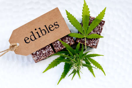 Marijuana - Cannabis - Medicinal Edibles - Coconut Brownies with tag, leaf and bud
