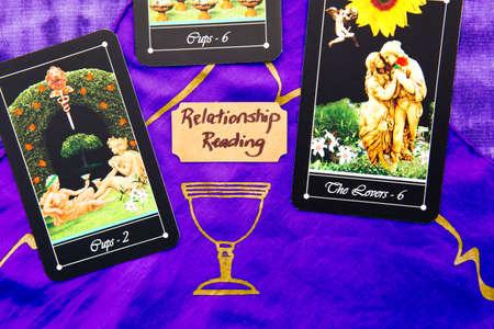 Tarot Relationship readings with deck of Tarot cards Stock Photo