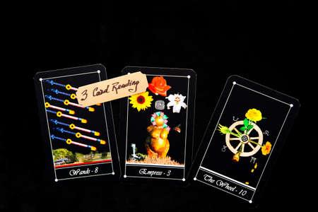 Tarot - 3 Card readings with deck of Tarot cards Stock Photo