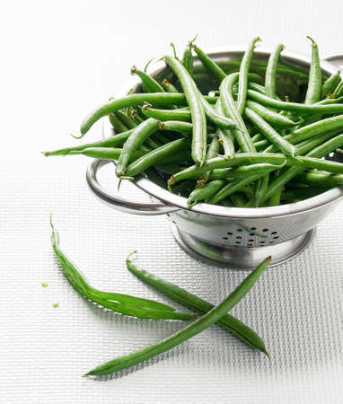 green beans: Green beans in a colander