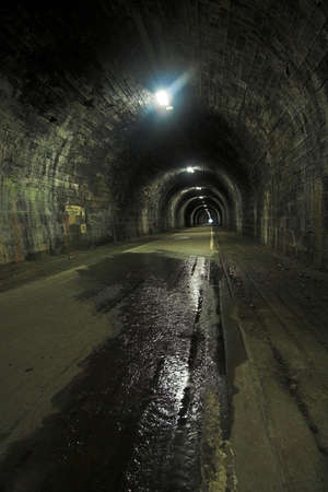 menacing: A long dark and seemingly endless tunnel which used to be part of a railway network in Edinburgh. Long disused it is now a rather creepy and atmospheric pedestrian underpass.