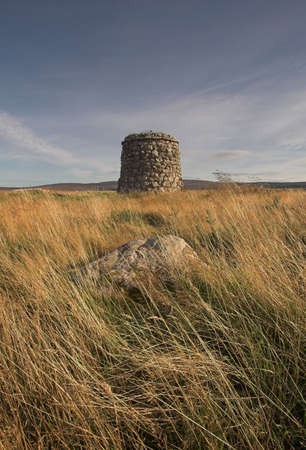 Memorial cairn commemorating the Battle of Culloden in 1746 at which the Jacobite forces were routed by government troops bringing to an end the exiled Stuart dynastys campaign to restore itself to power.