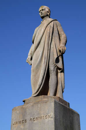 Statue of the 17th century Covenanting minister and field preacher James Renwick in Stirling Valley Kirkyard. Renwick objected strongly to state control over the Scottish church and, like other dissenting churchmen of his era, was ultimately executed. Stock Photo