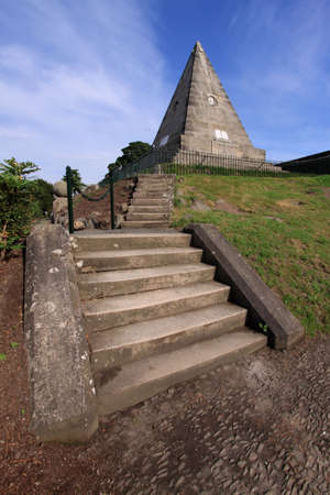 Monumental stone pyramid commissioned in the mid-19th century by William Drummond as a memorial to the martyrs of the Reformation and Covenanting era in Scotland and set somewhat incongruously in Stirlings Valley Kirkyard.