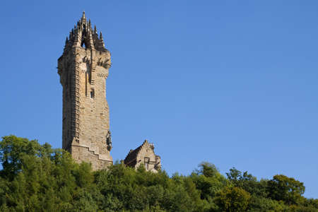 Wallace Monument, Stirling, Scotland situated atop Abbey Craig from where William Wallace led his peoples army to victory at Stirling Bridge in 1297.