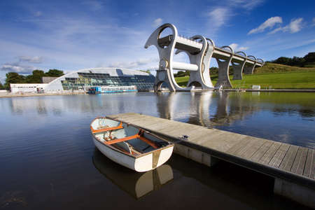 The Falkirk Wheel, a rotating boat lift linking the Forth and Clyde Canals with the Union Canal in Central Scotland.  photo
