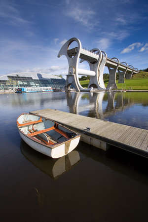 The Falkirk Wheel, a rotating boat lift linking the Forth and Clyde Canals with the Union Canal in Central Scotland.