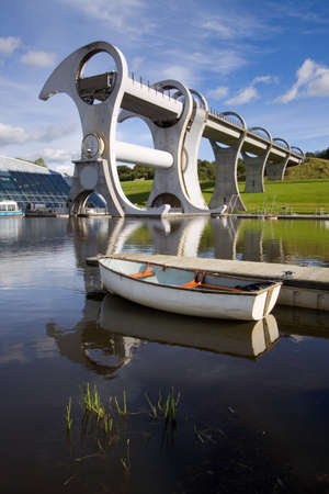 waterway: The Falkirk Wheel, a rotating boat lift in Central Scotland. Stock Photo