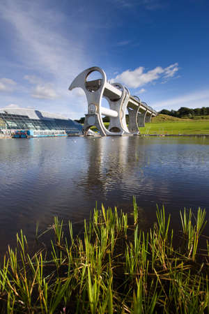 boat lift: The Falkirk Wheel, a rotating boat lift in Central Scotland. Stock Photo