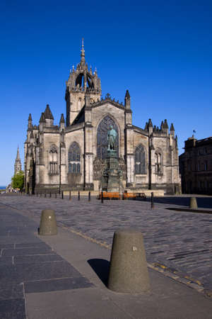 crown spire: St Giles Cathedral or High Kirk on the Royal Mile in Edinburgh. Stock Photo