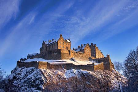 edinburgh: Edinburgh Castle In Winter Sunset