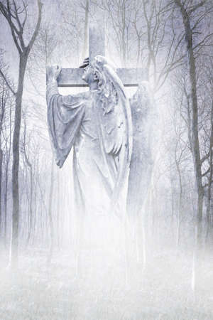 Crucifix Forest Angel Stock Photo