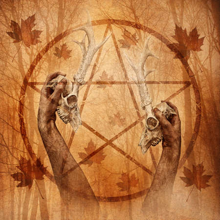 witchery: Pagan Forest Ritual Stock Photo