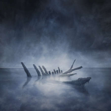 sunken: Sunken Boat Remains Stock Photo