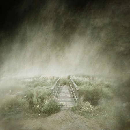 Deserted Wooden Footbridge