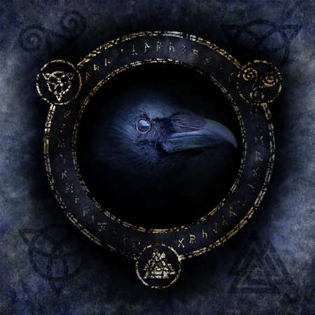Celtic Raven Spell Stock fotó - 71375024