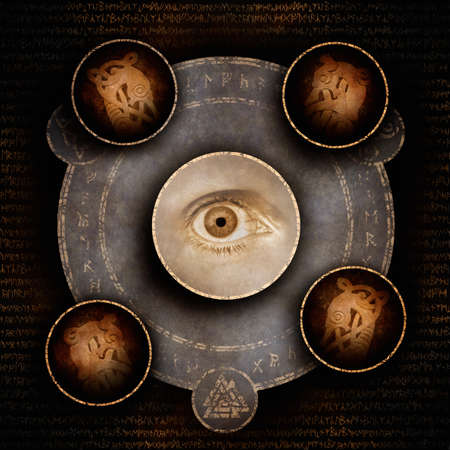 A single human eye surrounded by a mysterious arcane symbol and ancient Celtic animal carvings against a background of archaic runic script. Banco de Imagens