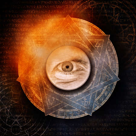 A single evil eye surrounded by a mysterious burning occult symbol against a background of arcane alchemical script and esoteric motifs. Zdjęcie Seryjne
