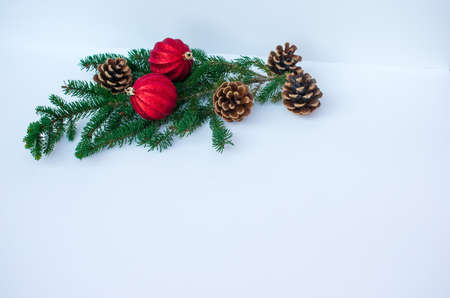 Two red Christmas ornament and four pine cones on a spruce tree branch Banco de Imagens