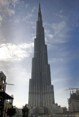 businees: Under construction of worlds tallest tower, in Dubai. Stock Photo