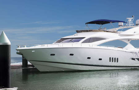 A Luxury Yatch parked in its berth in one of the famous upcoming luxury encave in Dubai Marina.