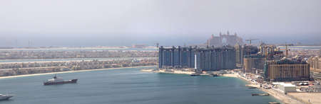 The under construction Palm Jumeirah, The picture shows the buttom left side of Palm and the Atlantis Hotel. photo