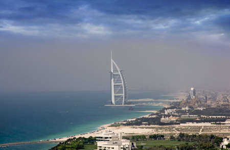 Aerial shot of Burj Al Arab & Jumeirah Beach Resort with the sourrounding area. Editorial