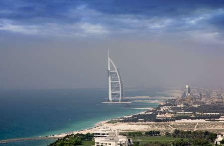 Aerial shot of Burj Al Arab & Jumeirah Beach Resort with the sourrounding area. Editorial