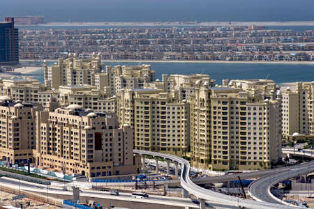 The under construction of Palm Dubai, the largest man made island in the world.