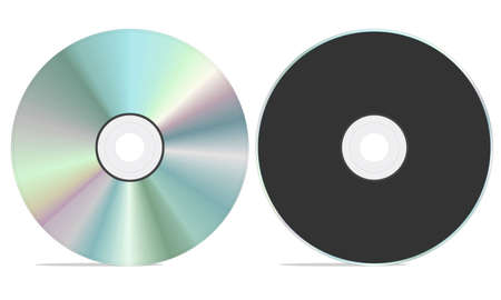 rom: Blank cd rom with both front and back view. isolated on a white background.
