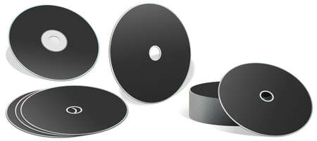 rom: A collection of blank cd rom with different orientation isolated on white background.