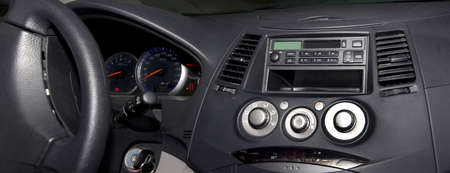 Interior of a car showing the full navigation and other technical informations. Stock Photo