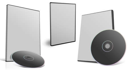 cd rom: A set of three dvd covers with dvd in different position and orientation.