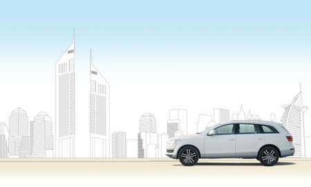 Hatchback car with Dubai city skyline in illustrations. PSD file available upon request. Stock Photo