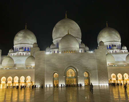 Night view of Grand Mosque in Abu Dhabi. This mosque is also known as Sheikh Zayad Mosque.