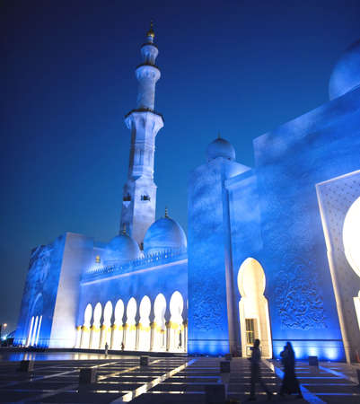 Sheikh Zayed Mosque is also known as Grand Mosque in night.