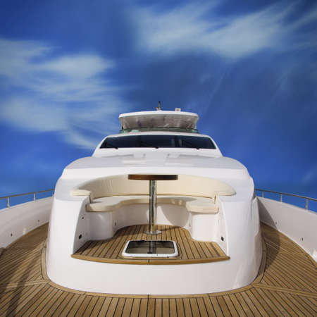 Rear view of the super yacht, with view of the overhead deck.
