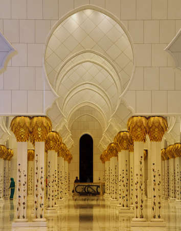 abudhabi: Interior illuminated columns of Sheikh Zayed Mosque in Abu Dhabi, United Arab Emirates Stock Photo