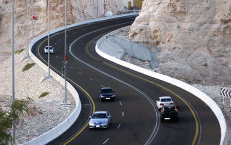 Steep mountain road in Al Ain in UAE. Home to the great hot water spring water and famous jebel hafeth mountain.