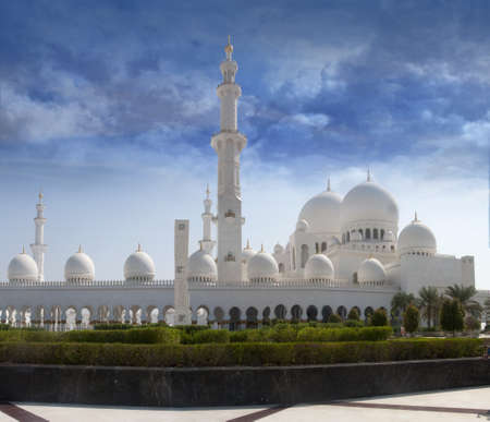 Front view of sheikh zayed mosque in Abu Dhabi. The third biggest mosque in the world.