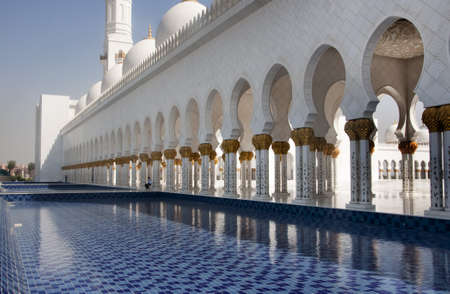 Close up view of the walk way and corridor of Sheikh Zayed or Grand Mosque in Abu Dhabi, UAE.