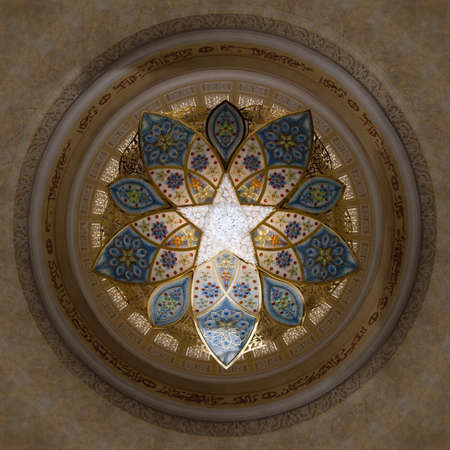 Interior design of Sheikh Zayad Mosque in Abu Dhbai, Roof and chandlier inside the prayer hall