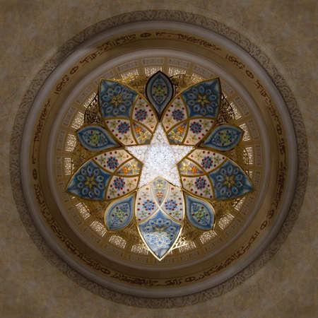 El diseño interior de la Mezquita Sheikh Zayad en Abu Dhbai, techo y Chandlier el interior de la sala de oración