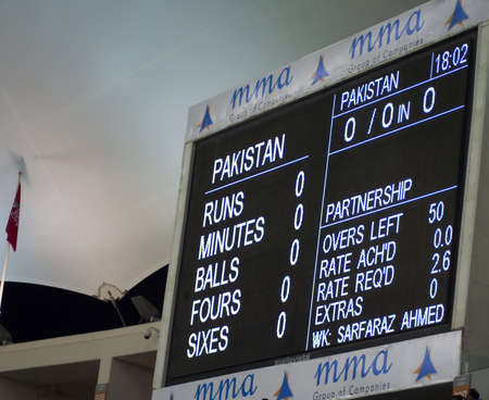 Dubai, United Arab Emirates - Nov 11: Huge score board displays ball by ball details, during the 1st ODI cricket match between Pakistan and Sri Lanka on  Nov 11, 2011 at Dubai Sports City, Dubai, UAE. Editorial