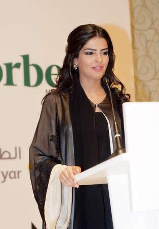 DUBAI - UAE - MARCH 10 2012: Her Highness Princess Ameerah Al Taweel wife of Prince Alwaleed bin Talal speaks at the Women Empowerment Group in Dubai on the eve of International Women