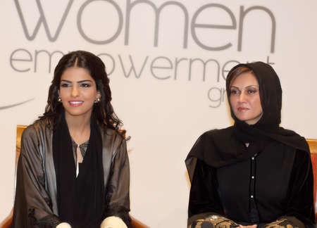 DUBAI - UAE - MARCH 10 2012: Her Highness Princess Ameerah Al Taweel wife of Prince Alwaleed bin Talal with Sahar Al Madani at the Women Empowerment Group in Dubai on the eve of International Women