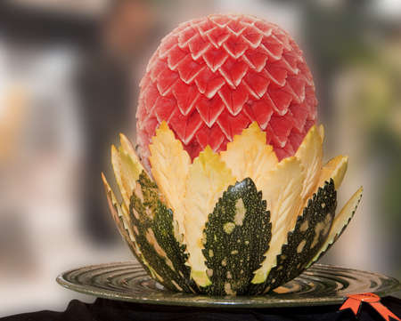 An water melon and pumpkin carved and displayed during the Gulf Food Festival in Dubai.