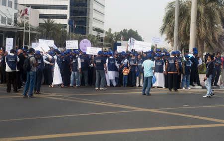 govt: DUBAI - UAE - APRIL 06 2012: Peace March Participants  during the March For Peace event organized by Dubai Islamic Department and Govt. of Dubai on April 06 2012 in Zabeel, Dubai.