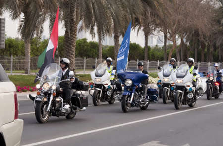 govt: DUBAI - UAE - APRIL 06 2012: Dubai Police Bikers during the March For Peace event organized by Dubai Islamic Department and Govt. of Dubai on April 06 2012 in Zabeel, Dubai.