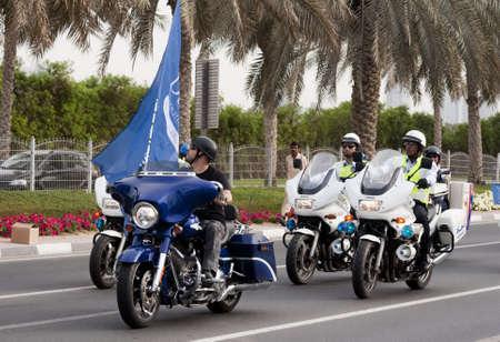 DUBAI - UAE - APRIL 06 2012: Members of Dubai Police during the March For Peace event organized by Dubai Islamic Department and Govt. of Dubai on April 06 2012 in Zabeel, Dubai. Editorial